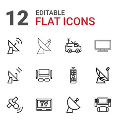 12 tv icons vector image