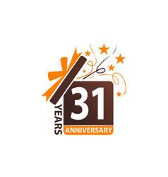 31 years gift box ribbon anniversary vector image