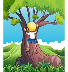 A young girl climbing vector