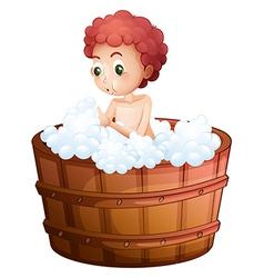 A young man taking bath vector