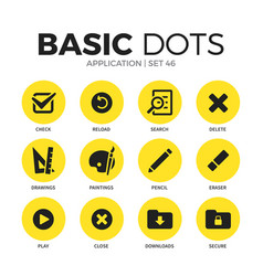 Application flat icons set vector