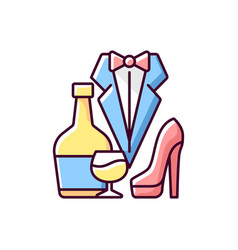 Bachelor party rgb color icon vector