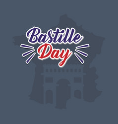 Bastille day celebration card with map vector