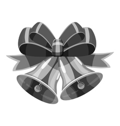 Bell with bow icon gray monochrome style vector image vector image