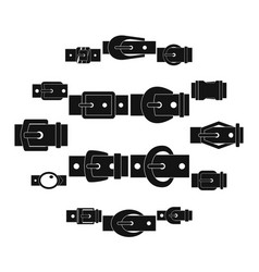 Belt buckles icons set simple style vector