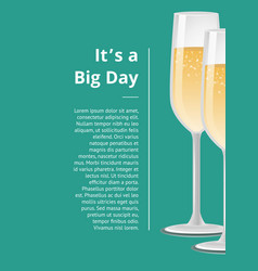 Big day poster two wineglasses with fizzy drinks vector
