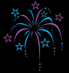 blue purple colourful stylized fireworks vector image