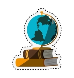book school with planet earth isolated icon vector image