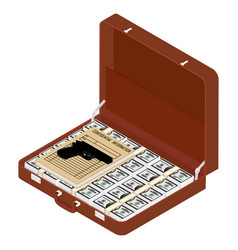 brown briefcase with top secret documents gun and vector image