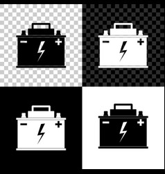 car battery icon isolated on black white and vector image