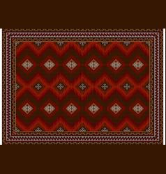 Carpet with diamond patterns in burgundyredgray vector