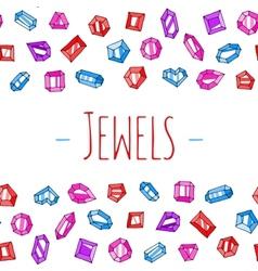 Cartoon jewels background vector image