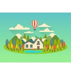 city on the island with balloon vector image