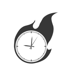 Clock flame fire circle time traditional icon vector