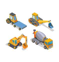 Construction machine building machinery icons vector
