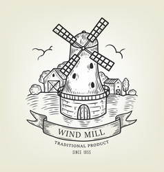 countryside landscape with windmill and vector image