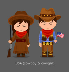 Cowgirl and cowboy western vector