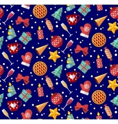 Cute christmas seamless pattern Flat designed vector image