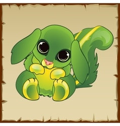 Cute green pussy with long ears vector image