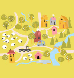 cute little village with blossom trees in cartoon vector image
