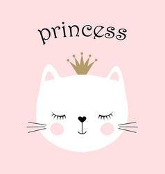 Cute princess cat vector