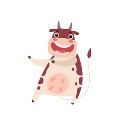 cute smiling cow having fun funny farm animal vector image