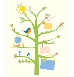 Cute tree card with text frames for kids vector