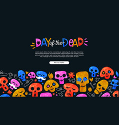 day dead cartoon skull landing page template vector image