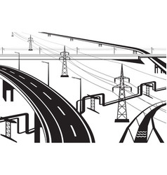 Different infrastructural installations vector