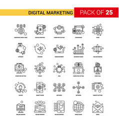 Digital marketing black line icon - 25 business vector