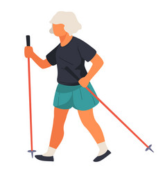 elderly woman walking with nordic poles physical vector image