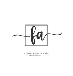 F a fa initial letter handwriting and signature vector