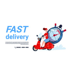Fast delivery service icon courier woman riding vector