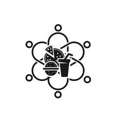 Food commitment teamwork together black logo vector