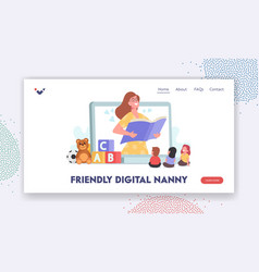 Friendly digital nanny babysitting landing page vector