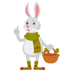 funny rabbit in knitted scarf and socks holds vector image