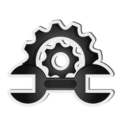 Gear and wrench icon vector