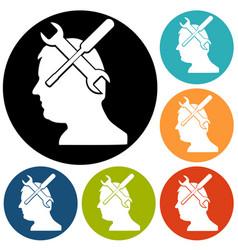 Gear head icon vector