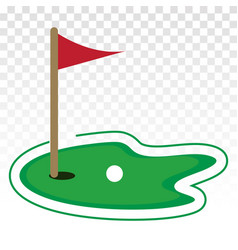 Green golf course with flag or flagstick and golf vector