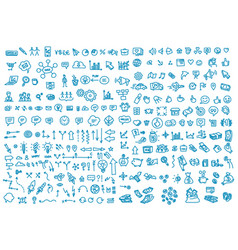 Hand draw business activity set doodle business vector