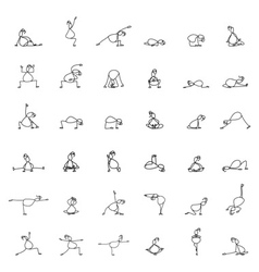 Hand drawing line cartoon yoga for pregnancy vector