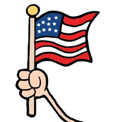 Hand waving an american flag vector