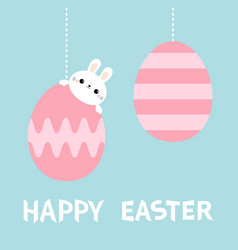 happy easter bunny rabbit head face hanging on vector image