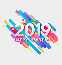 Happy new year 2019 colorful geometry shapes card vector