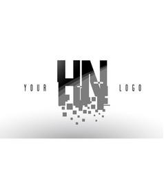 hn h n pixel letter logo with digital shattered vector image
