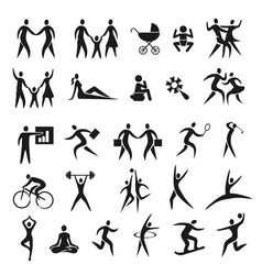 icons people family business sport vector image