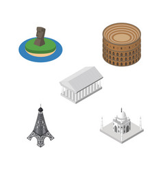 Isometric architecture set of athens paris india vector