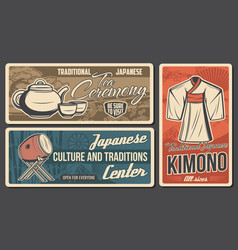 Japan travel and traditions posters vector