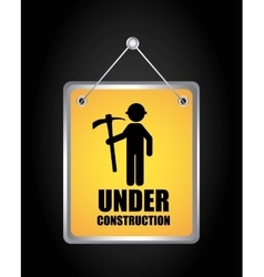 Label hanging under construction isolated icon vector