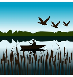 Landscape with fisherman in a boat vector